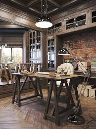rustic home office desk. earthy rustic home office design incorporating lots of timber exposed brick industrial lighting desk h
