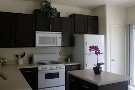 black painted oak kitchen cabinet combined with white appliances and granite countertop plus wall mounted microwave shelf under cabinet for small kitchen