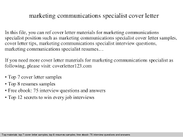 Communications Specialist Cover Letter Marketing Communications Specialist Cover Letter