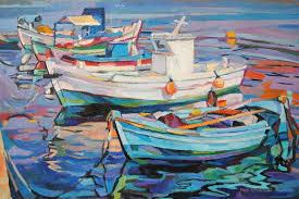 saatchi art artist maja Đokić mihajlović painting fishing boats in the harbour