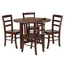 Amazoncom Winsome 5 Piece Alamo Round Drop Leaf Table With 4