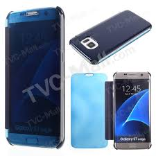 clear cover view pc leather case for samsung galaxy s7 edge g935 dark blue