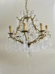 first half 20th century italian eight branch crystal chandelier