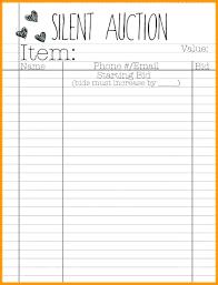 Bid Sheet For Silent Auction Printable Silent Auction Forms Gallery Of Lovely Silent Auction Bid Sheet