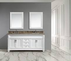 72 hudson double sink vanity set in white with white carrara marble countertop