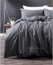 shabby paris chic charcoal french grey linen queen doona duvet quilt cover set