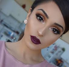 fall makeup look purple lips rose gold eye shadow eyes obsessed with this fall makeup tutorial love the orange eyeshadows and dark plum lip