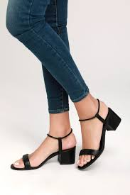 Steve Madden Ida - Black Ankle Strap Heels - Low Block Heels - Lulus