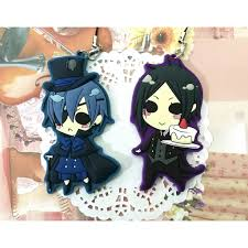 (BIG) <b>Anime Keychain Kuroshitsuji Black</b> Butler Ciel Sebastian ...
