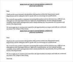 Rejection Letter to Interviewed Candidate