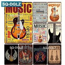 [SQ DGLZ] MUSIC GUITAR <b>Metal Sign Bar Wall</b> Decoration Tin Sign ...
