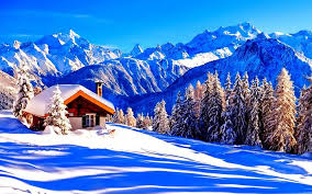 Download wallpapers 4k, Alps, winter, mountains, hut, snowdrift, Europe for desktop free. Pictures for desktop free