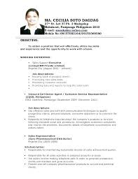 Call Center Resume Objective Examples – Betogether