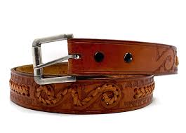 details about vintage handmade mexican leather belt brown size 42