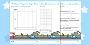 Travelling To School Tally Chart And Graph With Questions