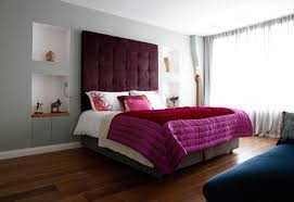 Large White Classy Bed Contemporary Bedroom Interior Design Purple  Comfortable Warm Bed Small Double Table Light