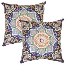 plantation patterns llc fern medallion square outdoor throw pillow 2 pack
