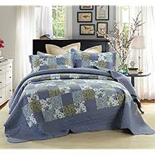 Amazon.com: Tache Floral Cotton 3 Piece Colorful Flower Power ... & Dada Bedding Reversible Patchwork Plaid Floral Blueberry Patch Bedspread  Quilt Set, Navy Blue, Cal Adamdwight.com