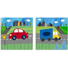 oopsy daisy too transportation blue truck red car canvas wall art set of on oopsy daisy transportation wall art with oopsy daisy too transportation blue truck red car canvas wall art