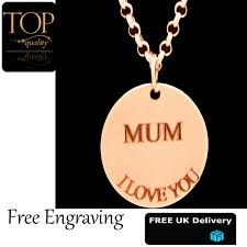 details about personalised disc pendant engraved name necklace rose gold plated gift mothers
