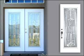 double smooth fiberglass front doors with marquise glass door inserts beveled white internal
