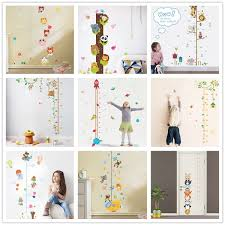 Cute Animals Stack Height Measure Wall Stickers Decal Kids Vinyl Wallpaper Mural Baby Girl Boy Room Growth Chart Stickers D19011702 Full Wall Decal