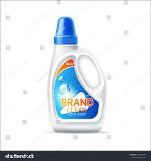 Softener Design Realistic Laundy Detergent Bottle Blank White Stock Vector