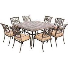 seasons 9 piece aluminum outdoor dining set with tan cushions