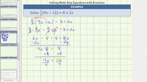 solve a linear equation with paheses and a fraction 2 3 9x 12 8 2x