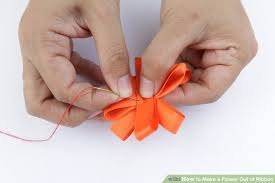 How To Make A Paper Ribbon Flower 3 Ways To Make A Flower Out Of Ribbon Wikihow