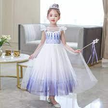 สาวคอสเพลย์เอลซ่า2แอนนาชุดเดรสปาร์ตี้หิมะชุดพระราชินีเด็กเด็กชุดงานปาร์ตี้แขนสั้นยาววัสดุฝ้าย