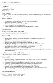 sample resume youth development specialist resume exle resumes - Sample  Youth Specialist Resume
