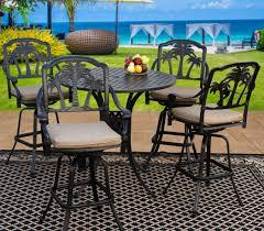 palm tree cast aluminum outdoor patio 5pc bar set 4 barstool 42 inch round bar table series 3000 with sunbrella sesame linen cushion