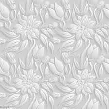 Seamless 3d White Floral Pattern Vector ...