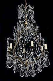 6 light antique french brass chandelier with crystal beaded swags crystal leaves crystal prisms