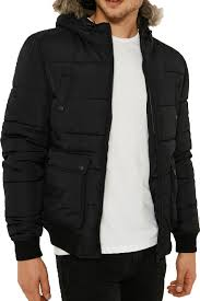 Mens Designer Padded Jacket Details About Threadbare Mens Night Owl Padded Puffer Jacket Designer Faux Fur Hooded Coat