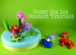 Cake Decorating Animal Figures Under The Sea Themed Tutorial Fondant Sea Horse Bake Happy
