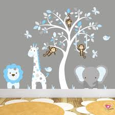 jungle wall art decals blue grey and white nursery