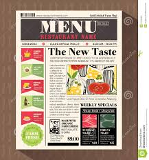 Creative Newspaper Template Restaurant Menu Design Template In Newspaper Style Stock