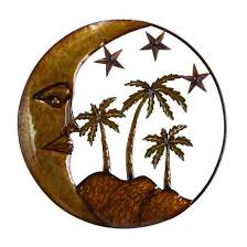 moon with palms wall decor