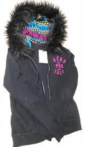 junior s aeropostale gray sweatshirt hooded jacket size l detachable faux fur