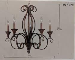 hampton bay 937379 chester 5 light chandelier aruba teak finish 462521 q5