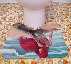 ohyess 3 pcs fairy tale mermaid sea maid beauty bathroom flannel non slip toilet