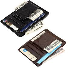 mini mens leather money clip wallet with coin pocket card slots thin purse man business magnet hasp card holder money clip whole wallets male wallets