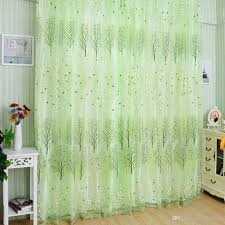 Fashion Green Pachira Offset Printing Window Tulle Door Curtain ...