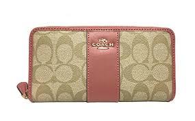 Coach Accordion Lt Signature PVC Khaki Wallet Pink Around Zip Vintage  wrRw6nEPq ...