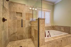 tiled shower renovation with pony wall image above to enlarge