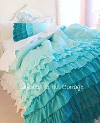 14 best ideas for my new bedroom images on Pinterest ... & SHABBY BEACH COTTAGE AQUA RUFFLES CHIC COMFORTER SET TWIN or FULL / QUEEN Adamdwight.com