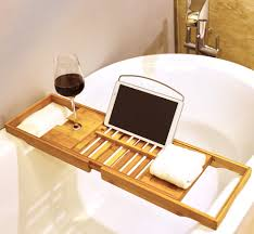 with this premium bamboo bath caddy you can turn a normal everyday bath into a relaxing home spa experience with its unique wine glass holder