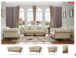 Ivory Living Room Furniture 2601 Ivory Leather Classic 3 Pcs Sets Living Room Furniture